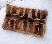 Сумка-чехол для планшета или ноутбука из натурального меха лисы с кожей, размер 38х20х4 см, фото 1