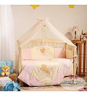 Постельный комплект для новорожденного  Tiny Love  розовый (7 предметов)