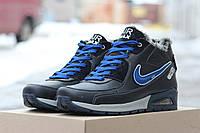 Зимние мужские кроссовки Nike Airmax / кроссовки мужские Найк Аирмакс, зима, натуральная кожа, черно-красные