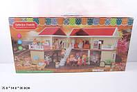 """Домик 1512 """"Happy Family"""" флоксовые животные, 2 этажа, светящаяся люстра, лестница, в коробке 75*14*36 см"""