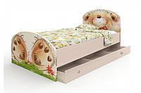 """Кровать """"Мишка с букетом"""" 90х190 + ящик на 3 секции"""