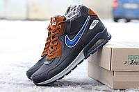Зимние мужские кроссовки Nike Airmax / кроссовки мужские Найк Аирмакс, натуральная кожа, черно-коричневые