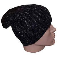 Мужская вязаная шапка - носок (утепленный вариант) объемной ручной вязки