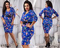 Приталенное принтованое цветочное платье размеры от 48 до 54