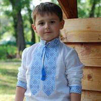 Вышиванка для мальчика с голубой вышивкой и длинным рукавом