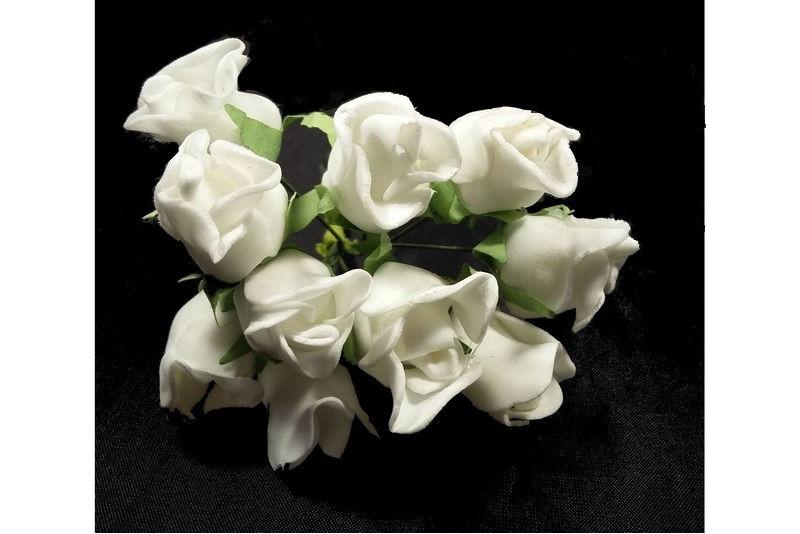 Штучна троянда біла (букет) 10792 1-6-1