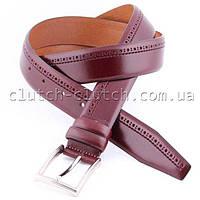 Ремень для брюк LMi-7514 красно-коричневый простроченный