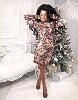 Ангоровое платье-гольф с принтом в расцветках 124 (140)