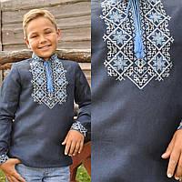 Темно-синяя вышиванка детская для мальчика с длинным рукавом
