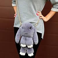 Сумка-рюкзак Кролик Fendi из натурального меха светло-серая