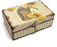 Декоративная шкатулка деревянная Подсолнухи
