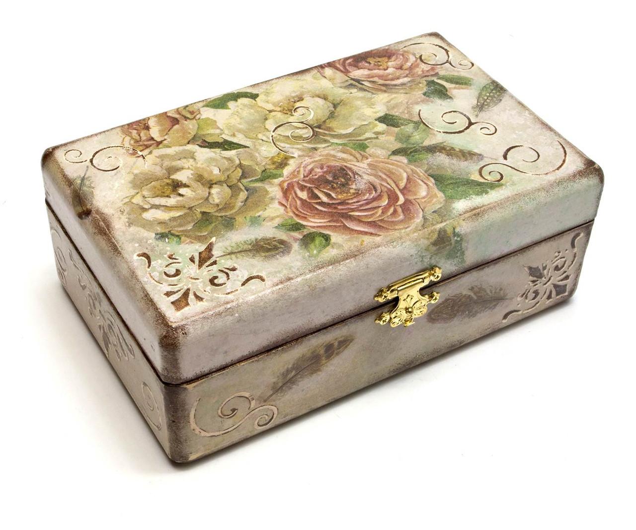 Шкатулка для бижутерии Розы из дерева
