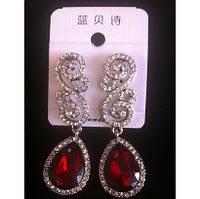 Красивые серьги с красными камнями и кристаллами 5,5см