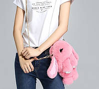 Сумка-рюкзак Кролик Fendi из натурального меха розовая