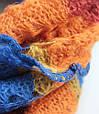 Яркий полосатый женский теплый шарф 180 на 50 dress V1731_3 голубой, фото 2