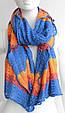 Яркий полосатый женский теплый шарф 180 на 50 dress V1731_3 голубой, фото 3
