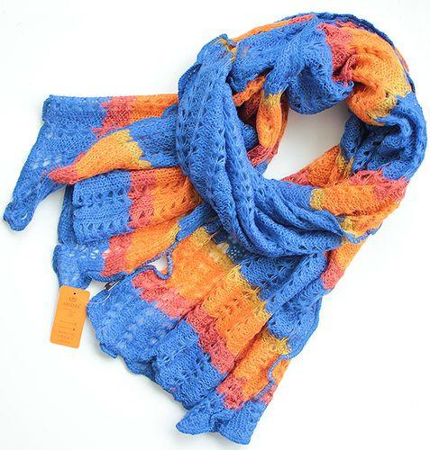 Яркий полосатый женский теплый шарф 180 на 50 dress V1731_3 голубой