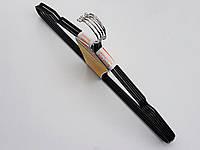 Плечики вешалки тремпеля  металлический в силиконовом покрытии черного цвета, длина 40,5 см, в упаковке 5 штук