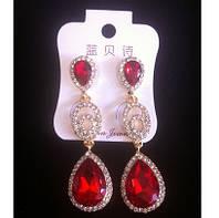 Красивые серьги с красными камнями и кристаллами 6см