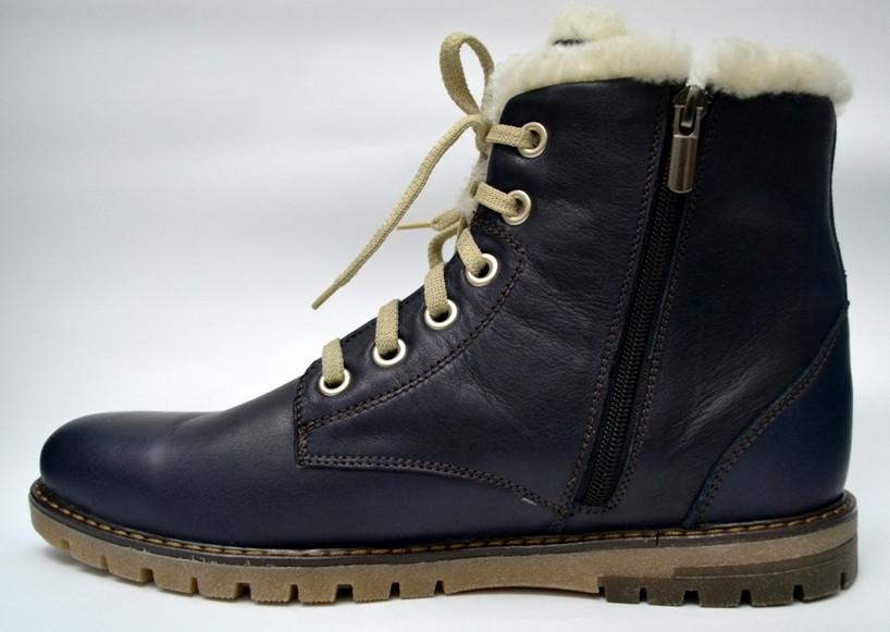 Большой размер Синие зимние мужские ботинки на меху кожаные Rosso Avangard BS Whisper Blu