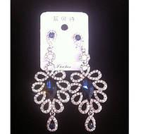 Красивые серьги с синими камнями и кристаллами 8см