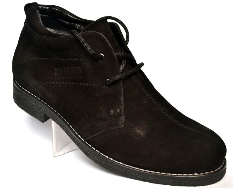 Классические зимние мужские ботинки дезерты черные нубук обувь на меху Rosso Avangard Carlo Pa Nub