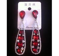 Красивые серьги с красными камнями и кристаллами 7см