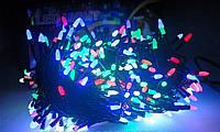 Гирлянда нить на черном проводе разноцветная RGB Led 500 светодиодов 24 метра