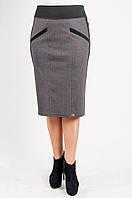 Трикотажная женская юбка в клетку чёрная, узор бежевый
