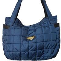 Дутая стеганая сумка синяя