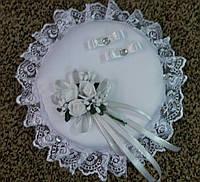 Свадебная круглая подушка под кольца № 1 (белая)