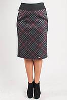 Трикотажная женская юбка в бордовую клетку