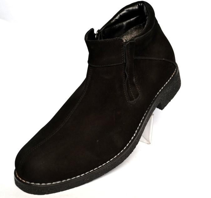 Класичні зимові чоловічі черевики на блискавці Rosso Avangard. Carlo Pa Nub Zip чорний нубук