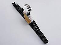 Плечики вешалки тремпеля металлический в силиконовом покрытии черного цвета, длина 40 см, в упаковке 5 штук