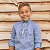 Голубая вышиванка на льне для мальчика с длинным рукавом