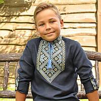 Темно-синяя вышиванка на льне для мальчика с длинным рукавом