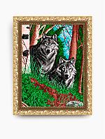 Авторская канва для вышивки бисером «Волки в лесу»