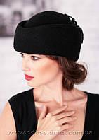 Фетровая  женская шапка таблетка черного цвета
