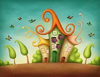 "Детские Фотообои ""Бабочки над домиками"", текстуры: холст, иней, декоративная штукатурка"