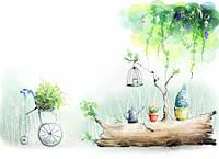 """Детские Фотообои """"Бревно в саду"""", текстуры: холст, иней, декоративная штукатурка"""