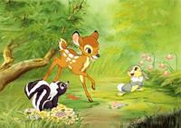 """Детские Фотообои """"Бэмби и лесные звери"""", текстуры: холст, иней, декоративная штукатурка"""