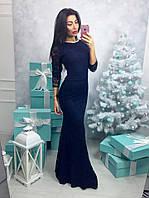 Длинное вечернее платье мб-1201 темно-синее