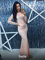 Длинное вечернее платье мб-1201 персиковое