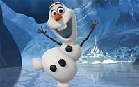 """Детские Фотообои """"Веселый снеговик"""", текстуры: холст, иней, декоративная штукатурка"""