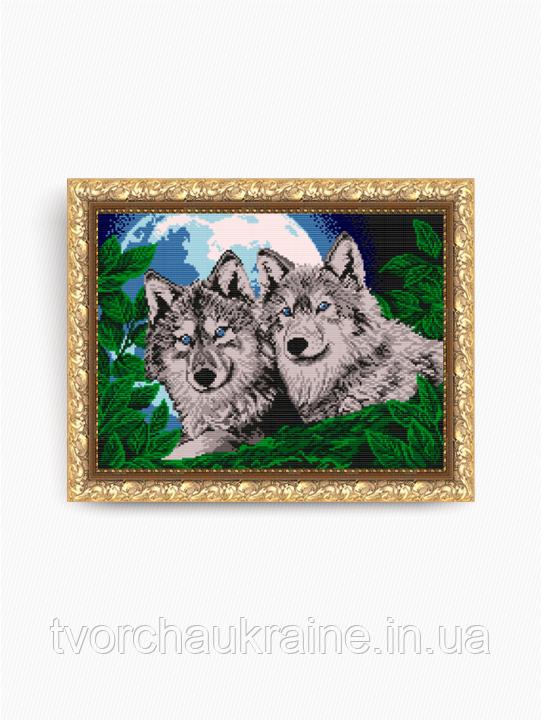 Авторская канва для вышивки бисером «Волки лунной ночью»