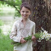Вышиванка льняная детская для мальчика с длинным рукавом