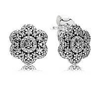 """Серьги-пусеты """"Кристальный цветок"""" из серебра с кубическим цирконием Pandora, 290732CZ"""