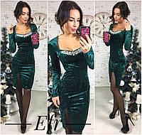 Платье стрейч велюр цвета: изумрудный, марсала, электрик украшение в комплекте ефран№136-14
