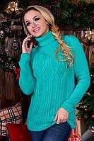 Стильный теплый  свитер  . Цвет- салат . ( 42-46- один универсальный)