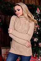 Теплый свитер крупной вязки- какао